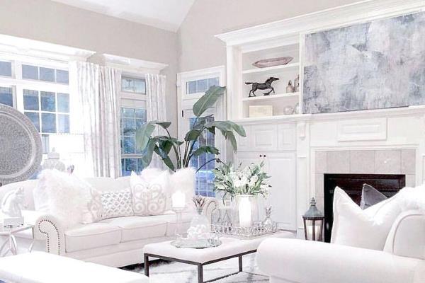 10 prekrasnih dnevnih boravaka bijele boje
